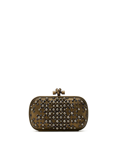 Bottega Veneta Pearl Chain Knot Clutch Bag