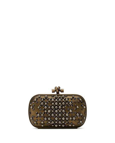 The Knot Embellished Metallic Leather Clutch, Gold