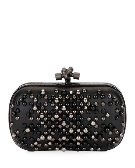 Studded Leather & Genuine Snakeskin Clutch - Black
