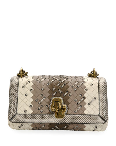Club-Stitch Clutch Bag with Snakeskin Trim