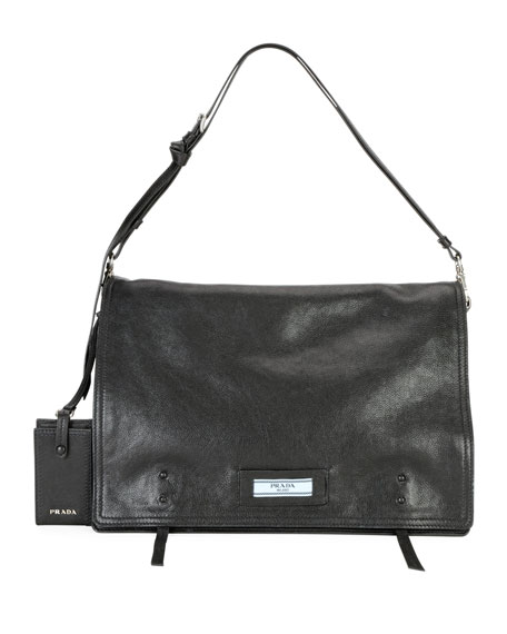 Prada Large Glace Calf Etiquette Shoulder Bag