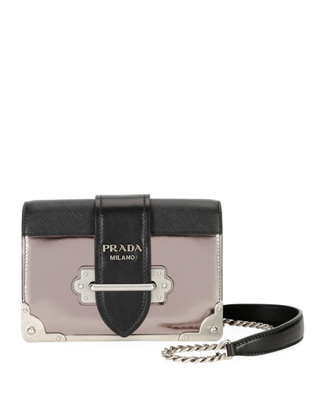 fd38d3e0aa00 Prada Cahier Small Metallic Crossbody Bag In Grey