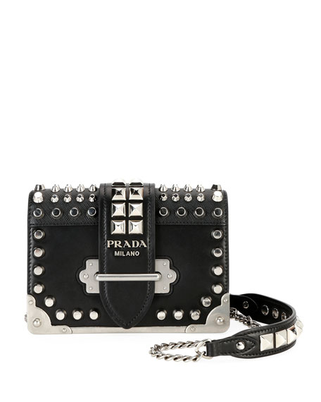 Prada Cahier Small Studded Saffiano/City Calf Shoulder Bag