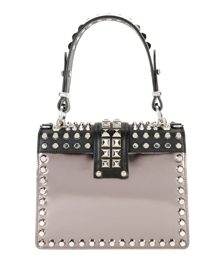 Studded Cahier Top-Handle Bag