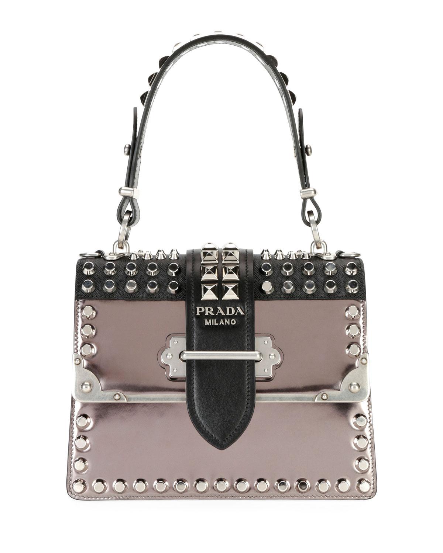 6fb6c1095f957 Prada Studded Cahier Top-Handle Bag