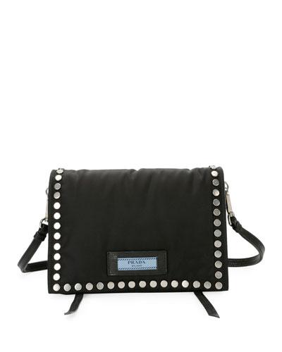 Small Studded Tessuto Etiquette Bag
