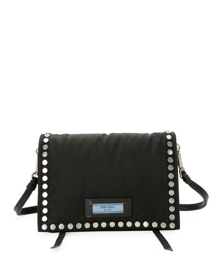 Small Studded Tessuto Etiquette Bag in Black