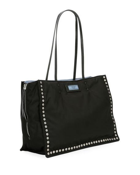 Studded Tessuto Etiquette Shopper Bag