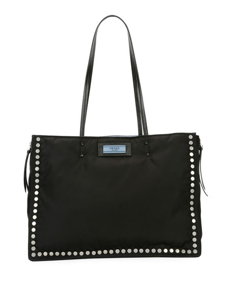 Studded Tessuto Etiquette Shopper Bag in Black