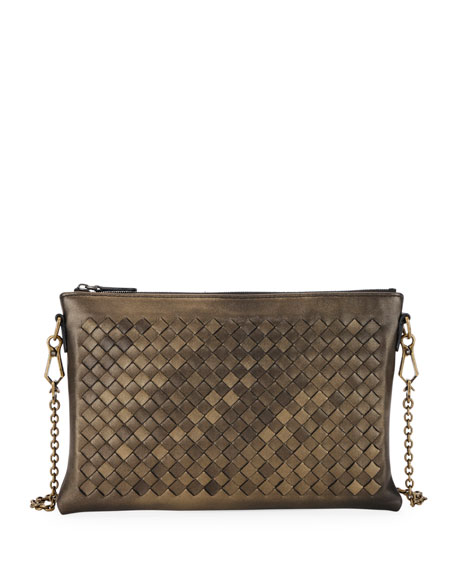 61c418943d72 Bottega Veneta Woven Leather Zip-Top Pouch Crossbody Bag In Gold ...