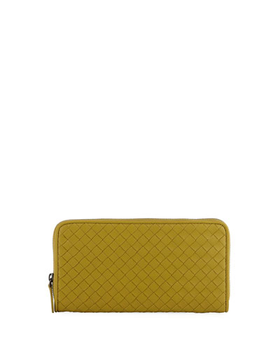 Woven Leather Continental Wallet