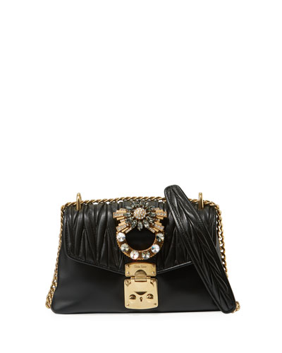 Miu Coffer Jeweled Quilted Leather Shoulder Bag