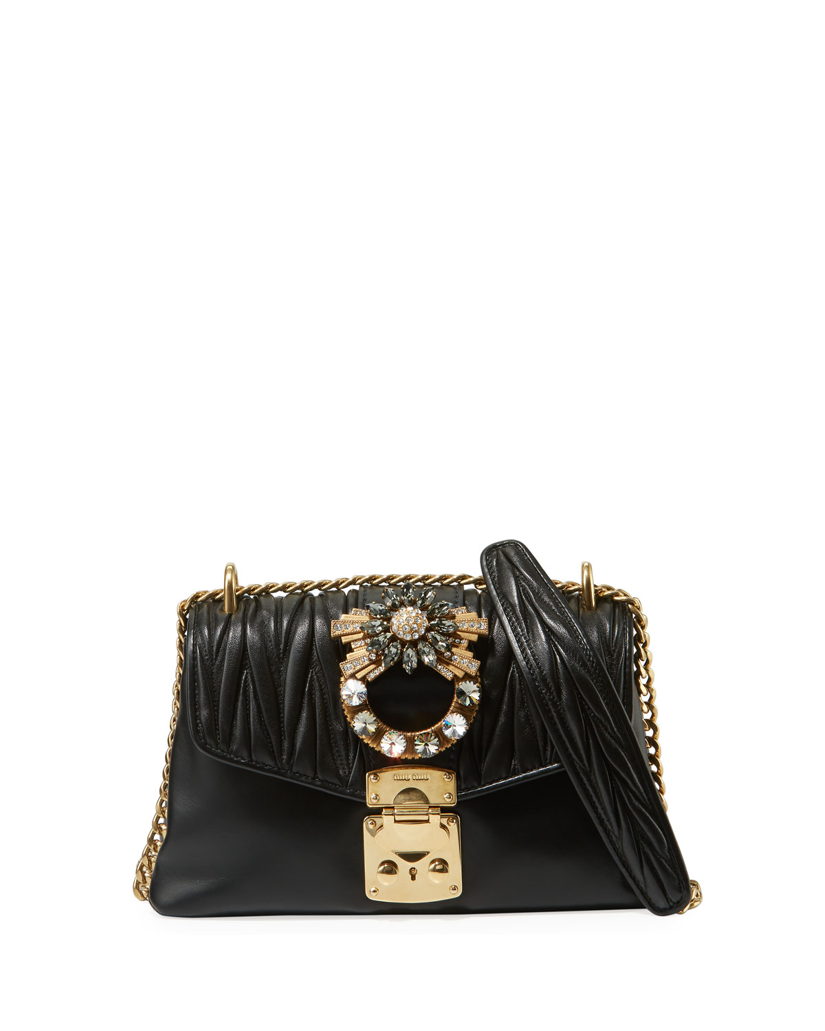 8a5bdeb7e8fd Miu Miu Coffer Jeweled Quilted Leather Shoulder Bag
