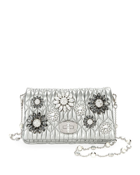 Crystal Embellished Leather Crossbody - Metallic in Silver