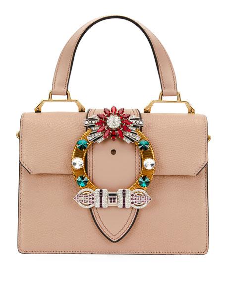 Madras Crystal Embellished Leather Top Handle Bag - Pink, Beige