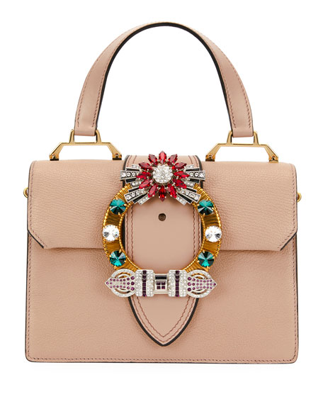 MIU MIU Madras Crystal Embellished Leather Top Handle Bag - Pink, Beige