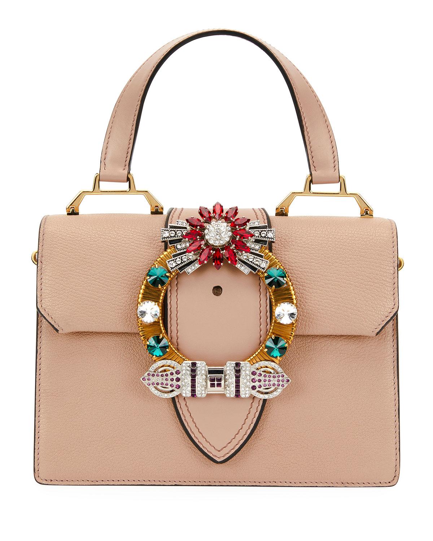 62323d6d8be8 Miu Miu Lady Jeweled Top-Handle Bag