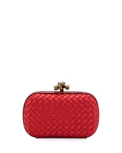 Small Intrecciato Impero Satin Knot Minaudiere Clutch Bag