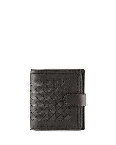 Small Metallic Intrecciato Leather French Wallet