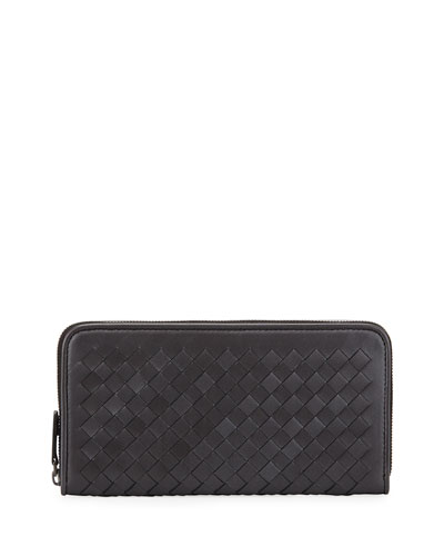 Metallic Woven Leather Continental Wallet