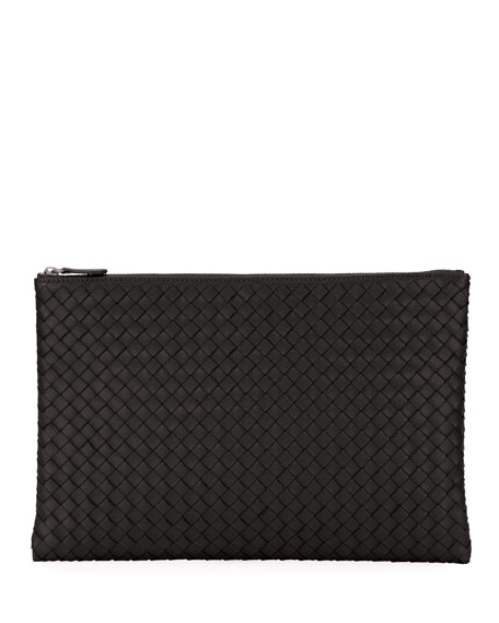 Intrecciato Large Leather Pouch - Black