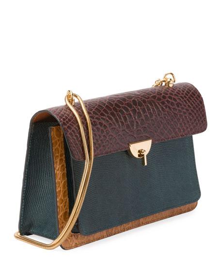 Large Pebbled Leather Colorblock Satchel Bag