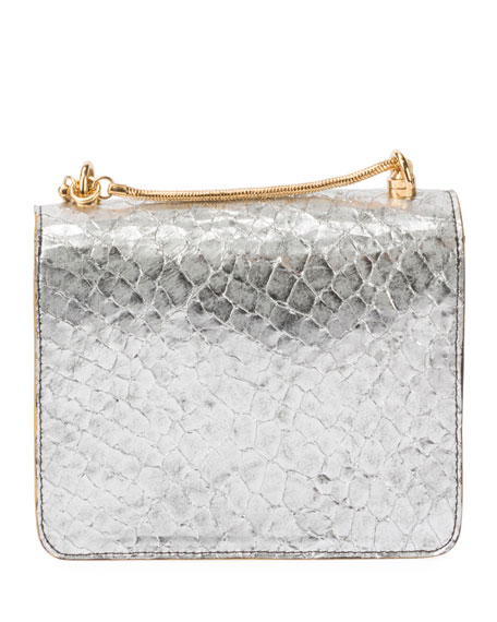 Metallic Leather Crossbody Bag with Chain & Turn-Lock
