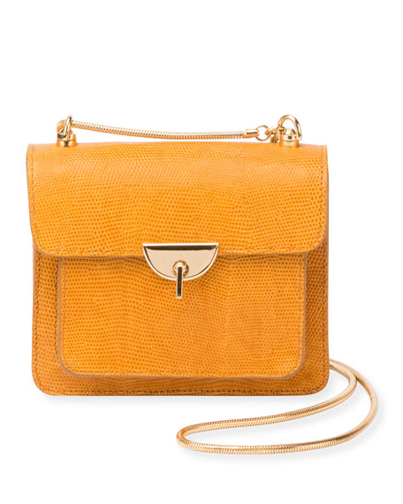 Embossed Leather Crossbody Bag with Chain & Turn-Lock