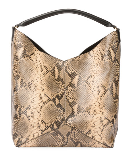 Snake-Embossed Leather Tote Bag
