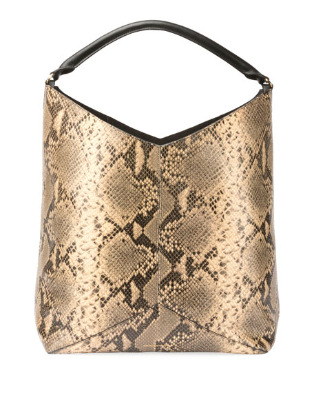 Snake-Embossed Leather Hobo Tote Bag