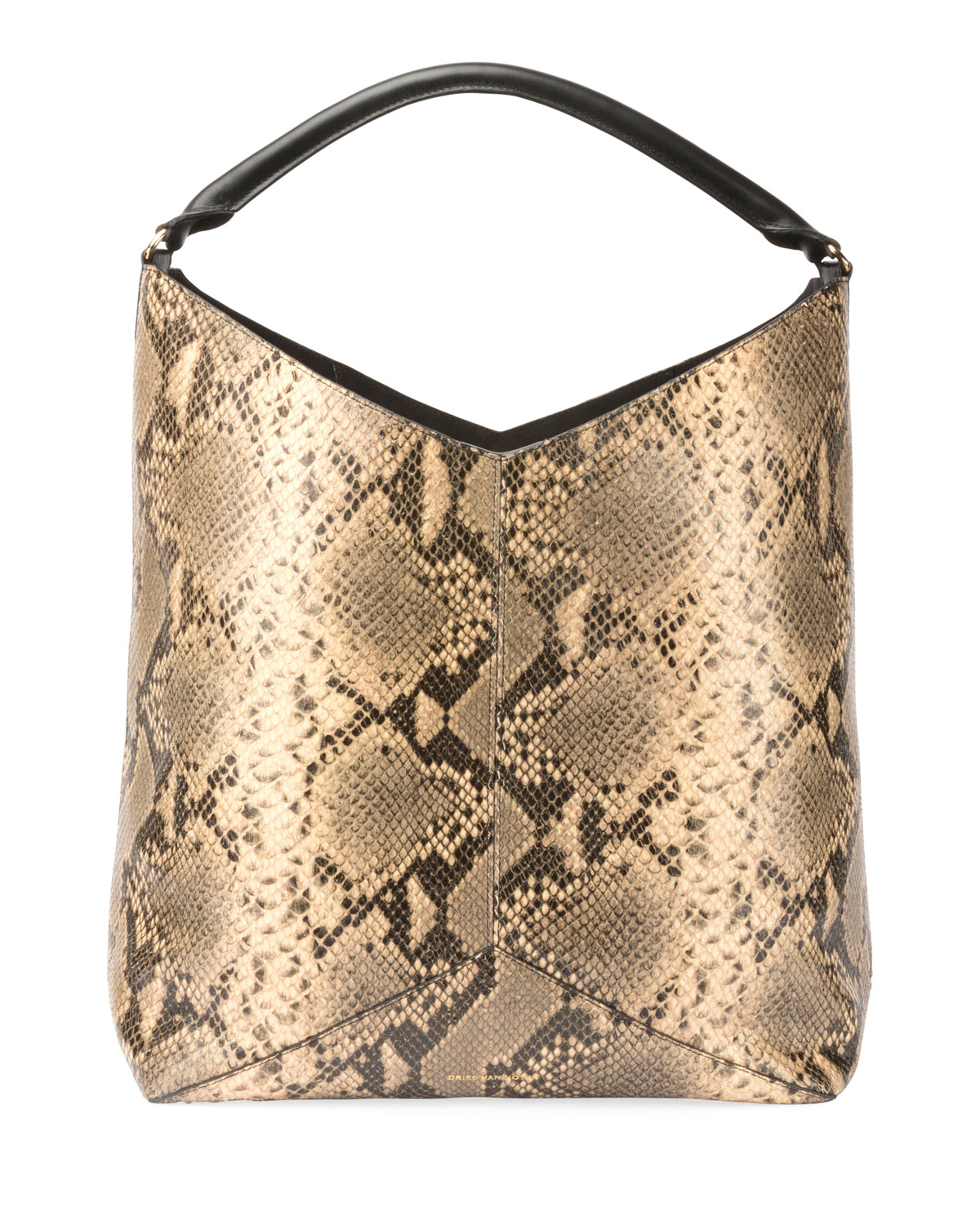 Dries Van Noten Snake-Embossed Leather Hobo Tote Bag  87a038d724e22