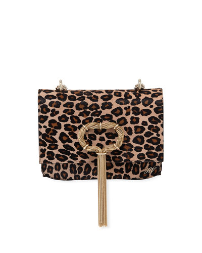 Club Chain Leopard Hairhide Clutch Bag
