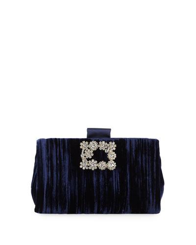 Soft Flowers Embellished Velvet Clutch Bag