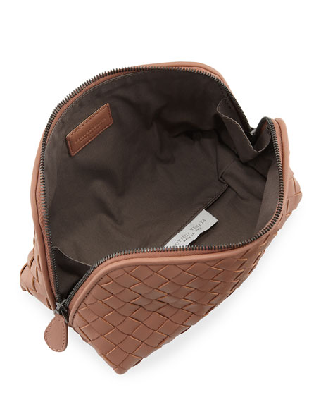 Medium Woven Leather Cosmetics Case