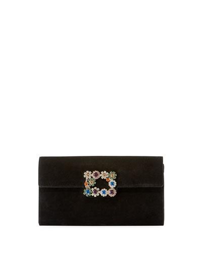 Floral Crystal-Buckle Suede Envelope Clutch Bag