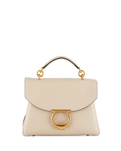 Small Gancio Vela Leather Top-Handle Satchel Bag