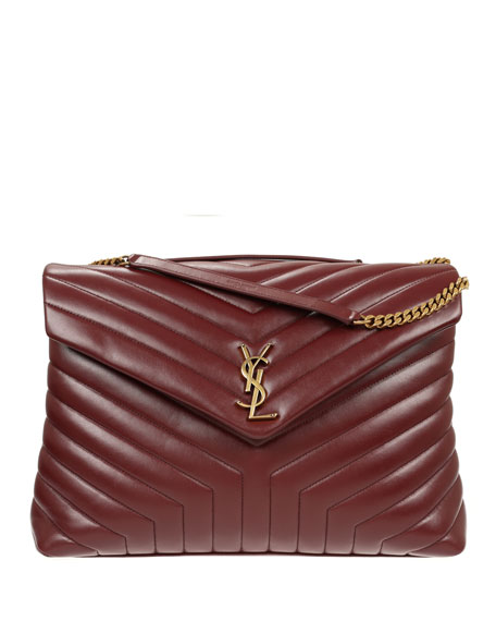 Loulou Monogram YSL Large V-Flap Chain Shoulder Bag - Lt. Bronze Hardware