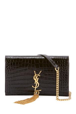 Saint Laurent Kate Monogram YSL Tassel Croco Wallet on Chain Bag - Golden Hardware