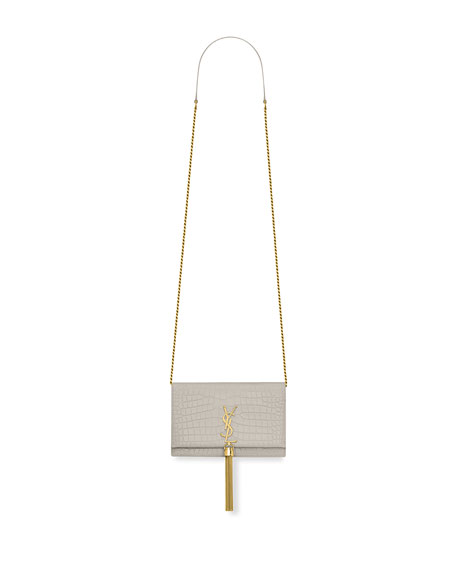 Kate Monogram Tassel Croco Wallet On Chain Bag   Golden Hardware by Saint Laurent