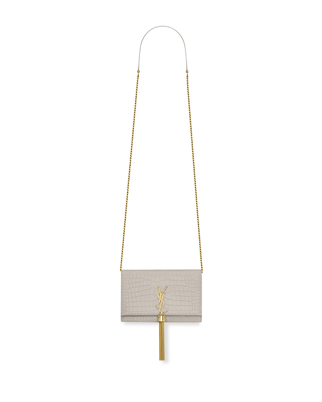 Kate Monogram Ysl Tassel Croco Wallet On Chain Bag Golden Hardware
