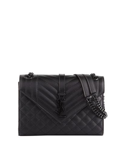 V Flap Monogram Medium Tri-Quilt Envelope Shoulder Bag w/ Tonal Hardware
