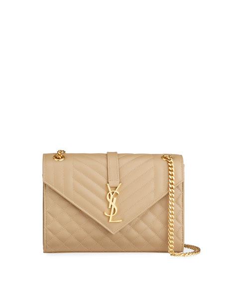 V Flap Monogram Medium Envelope Chain Shoulder Bag - Golden Hardware
