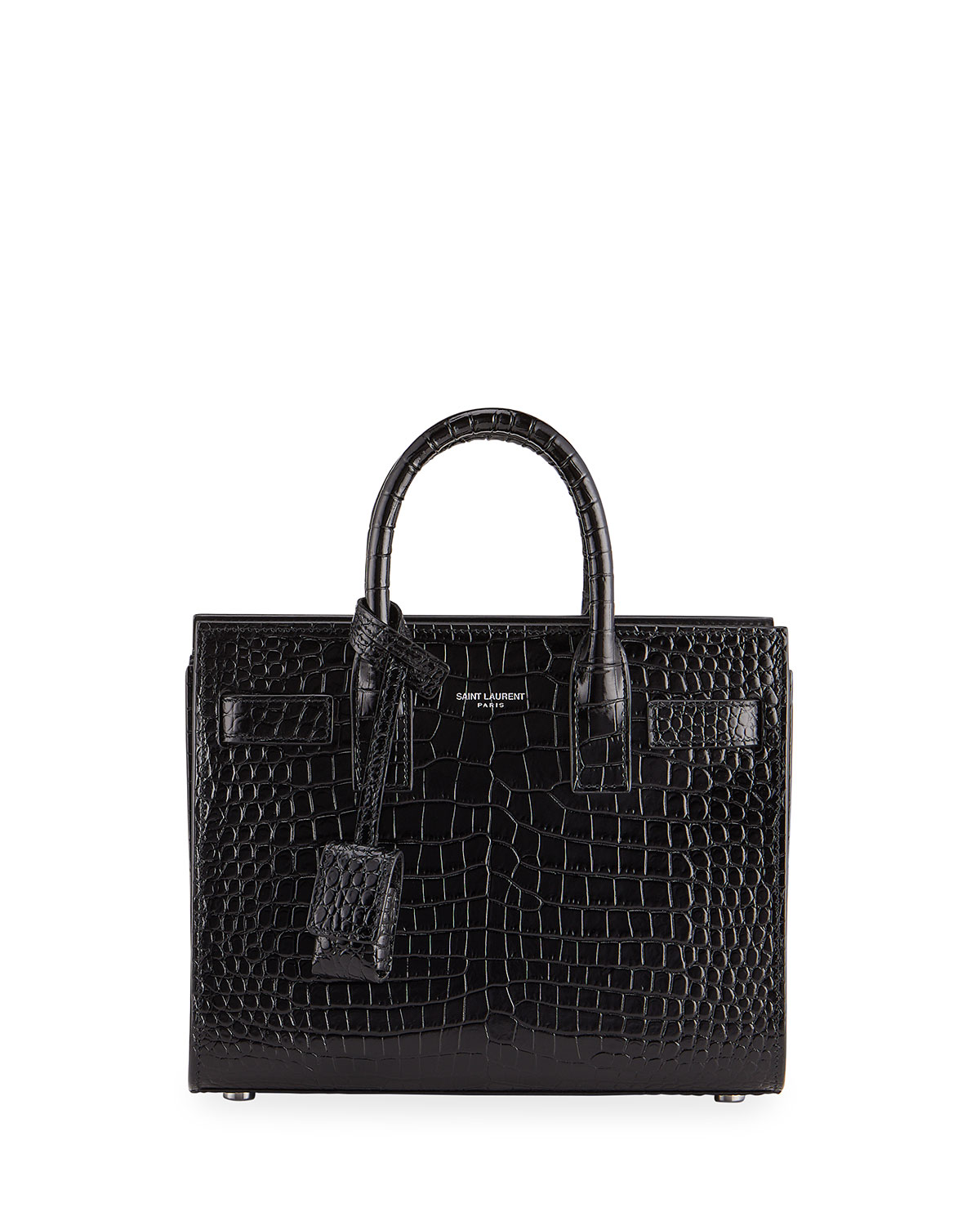 e482e29b526 Saint Laurent Nano Sac de Jour Croco-Effect Satchel Bag