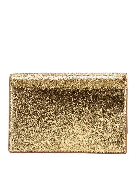 Saint Laurent Kate Monogram YSL Small Crackled Metallic Wallet on Chain - Bronze Hardware