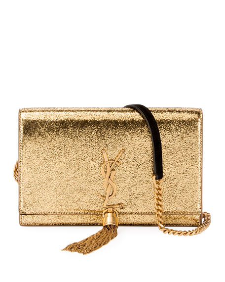Saint Laurent Kate Monogram YSL Small Crackled Metallic Wallet on Chain - Bronze Hardware | Neiman Marcus