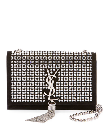 Kate Monogram Small Tassel Chain Crossbody Bag With Crystals   Miroir Hardware by Saint Laurent