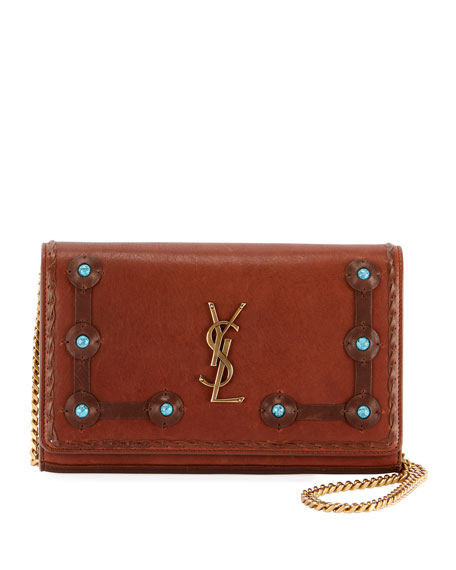 Kate Monogram YSL Medium Stone-Stud Chain Shoulder Bag