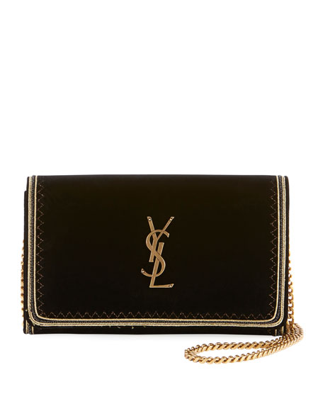 Monogram YSL Flap Velvet Wallet on a Chain