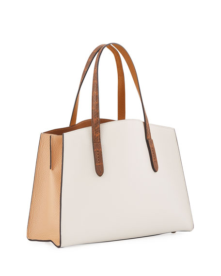 Charlie Colorblock Leather Tote Carryall Bag