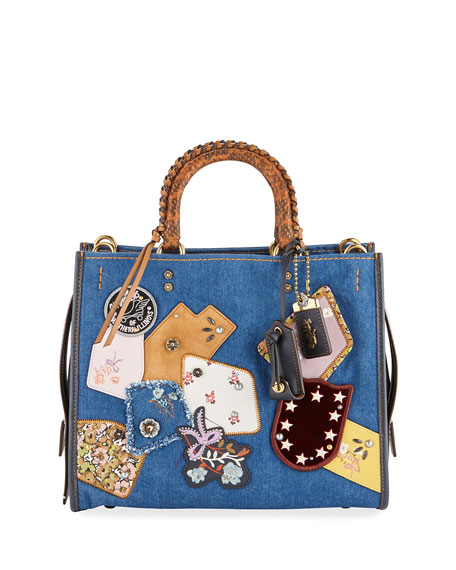 Coach 1941 Rogue Exotic Denim Patchwork Bag